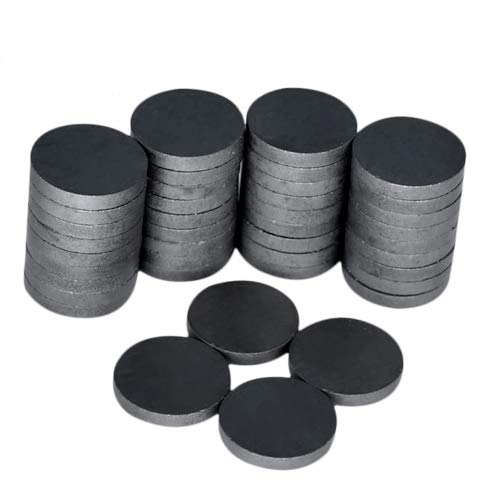 Ceramic Industrial Magnets - Bulk Lot of 40 Pcs Refrigerator Magnets - Tiny Round Disc Fridge Magnets - 1.26 Inch (32mm) - Magnets for Crafts, Science, Hobbies, Bottlecaps