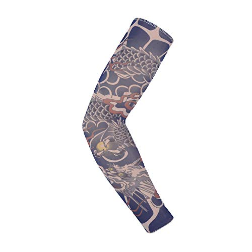 NooobTerrm Tattoo Sleeve Tatuaggi temporanei Manica Vestito Operato dalle Calze del Braccio per Uomo Donna(L, Dragon e)