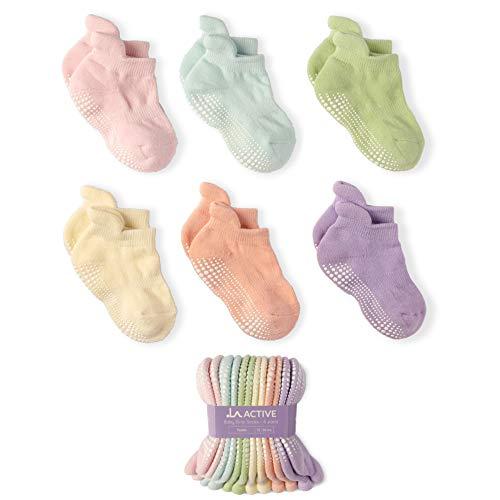 LA Active Calzini Presa Antiscivolo Cotone - 6 Paia - Per Bambini Piccoli Neonati e Infanti (Pastelli, 12-36 Mesi)