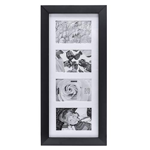 Malden 4x6 4Opening Collage Matted Picture Frame, Displays Four, Bl