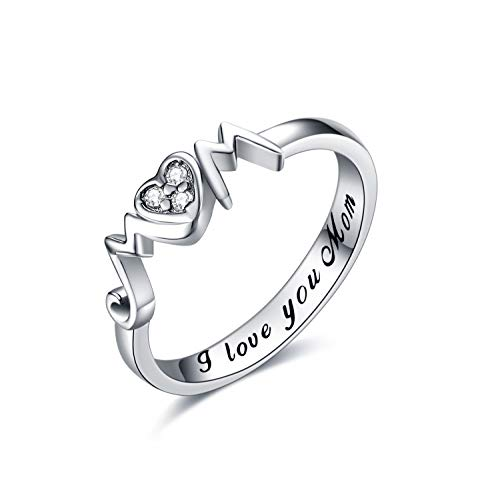 YAFEINI Mom Rings 925 Sterling Silver Mom Mother Rings Women Jewelry Gifts for Mum