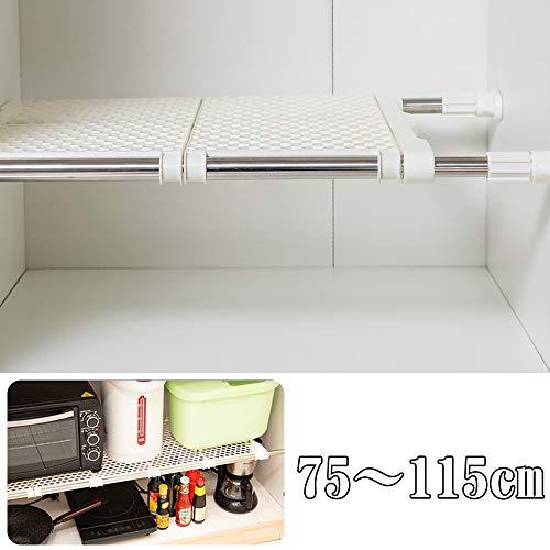 突っ張り 棚 つっぱり棚 超強力伸縮ワイドメッシュ棚 幅75~115cm 耐荷重20~60kg 押入れ ラック 脱衣所 洗面所 室内物干し