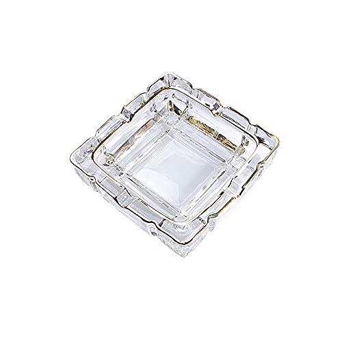 Sxcespp Cenicero de vidrio moderno y simple, cenicero transparente para cigarros para la oficina en casa, elegantes adornos de cenicero para el escritorio de los hombres, caja de cigarrillos decorativ