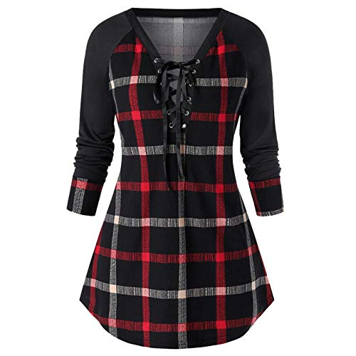 Women's Blouses Classic Lace up Deep V Neck Long Sleeve Plaid Tops Casual Slim Fit Check Shirts Patchwork Bandage Color Block Pullover Shirt Tartan Tunic Top Blouse for Ladies Wine