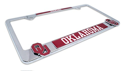 AMG Premium NCAA OU Sooners Mascot License Plate Frame w/Dual 3D Logos - Second Generation (Oklahoma)