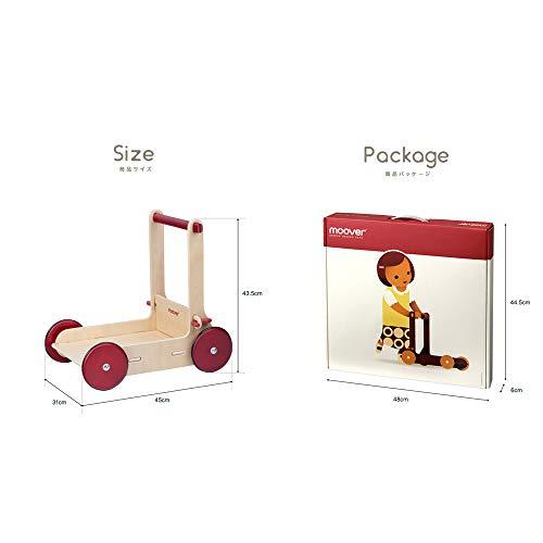 Mooverベビーウォーカー【ナチュラル】手押し車歩行器歩行練習つかまり立ち木製北欧デザインおしゃれ幼児赤ちゃん対象年齢8ヶ月以上(レッド)