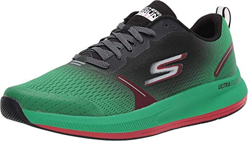 Skechers mens Go Run Pulse - Performance Running & Walking Shoe Sneaker, Green/Black, 10 US