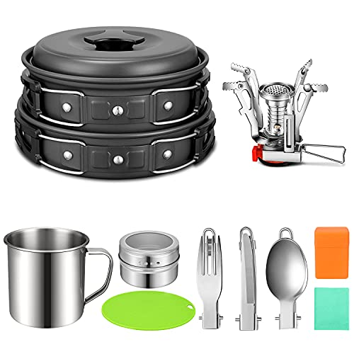 G4Free 12PCS Camping Cookware Mess Kit, Lightweight Cooking Pot Pan Fork Knife Spoon Kit for Backpacking, Outdoor Camping Hiking and Picnic