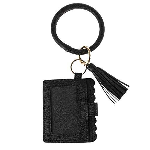 Schlüsselanhänger Geldbörse Damen Tasche Schlüssel Armband Kette Kunstleder Handtasche Brieftasche Kartenhalter mit Schlüsselbund Armreif (Schwarz)
