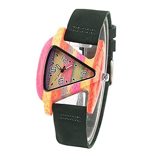CAIDAI&YL Elegante Reloj de Madera de Colores paraMujer,Cuarzo,CueroVerde/Rojo, Relojes para Mujer, Esfera Triangular, Reloj Creativo, Correa de Cuero Verde