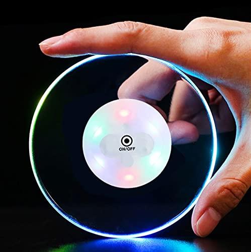 Posavasos LED Luminoso, 10cm De Diámetro, Ultrafino, Acrílico, Vino Y Barra De Bebidas, Decoración, Fiesta, Regalo, Intermitente (Color : Colorful, Size : 10PCS)