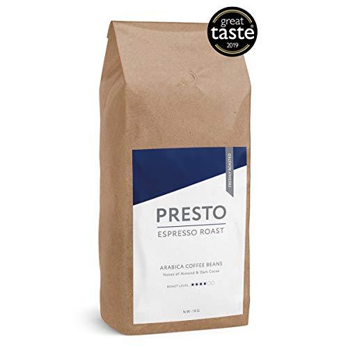 Presto-Kaffeebohnen – Cafè Espresso - Ganze Kaffeebohnen Medium-Röstung 1 kg - Glatter Arabica - Perfekte Kaffeemaschine für die Bohne - Gewinner des Great Taste Award 2019