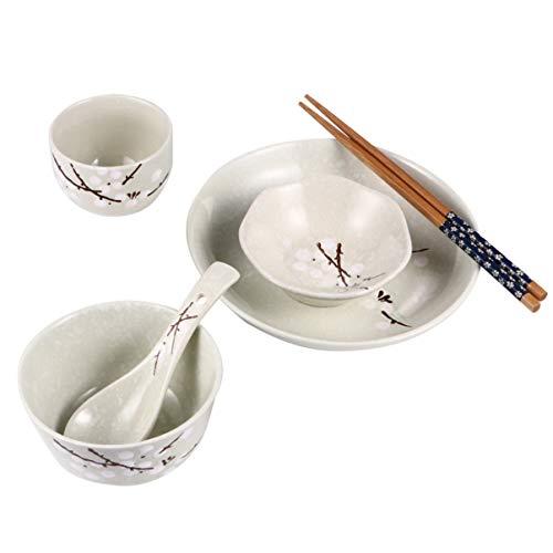 Hemoton Juego de vajilla de cerámica de 6 piezas con diseño de flores, juego de vajilla de cerámica japonesa para servicio de cocina doméstica, una persona (cian)