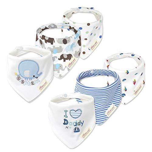 Casa Set de 6 Baberos ,Bebé Baberos Algodón suave Bandana Saliva Toalla Recién nacido Triángulo Bufanda para Niños Niñas dentición ,alimentación