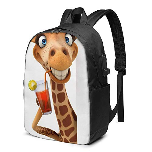 XCNGG Hey Me Again! Cute and Funny Giraffe Travel Laptop Backpack, Backpack with USB Charging Port, for Men Women Fits 17 Inch