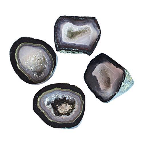 Natural Mini geoda ágata druzy 4 piezas mezcla de piedras preciosas lote para uso de joyería, proveedor de piedra al por mayor 23941