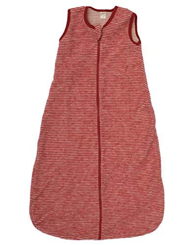 Lilano, Baby Fleece Schlafsack Ohne Arm, 100% Merinowolle (Rot Geringelt, 2)