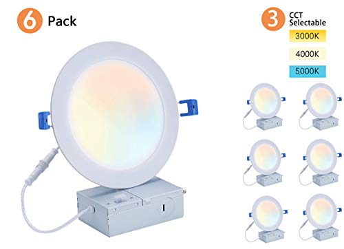 Cloudy Bay 6 inch 3000K/ 4000K/ 5000K Three Color Temperature Selectable, Dimmable 15W CRI 90+ LED Recessed Light, IC Rated,Ultra Thin Recessed Downlight with Junction Box, White, 6PK