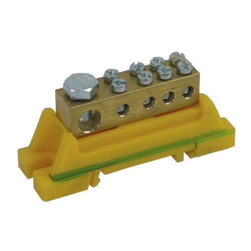 PE–Abrazadera de color verde amarillo para carril DIN 46.31eléctrico de plast 7201