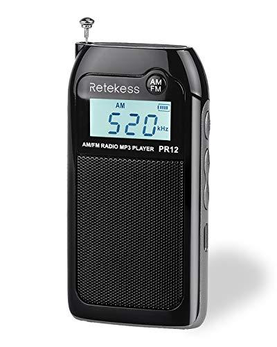 Retekess PR12 Digital Radio, Pocket Radio AM FM, Mini Radio with TF Port, Backlit Display and Earphone Jack, Suit for Jogging and Gym (Black)