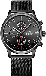Megir Mens Quartz Watch, Chronograph Display and Stainless Steel Strap - 2011G