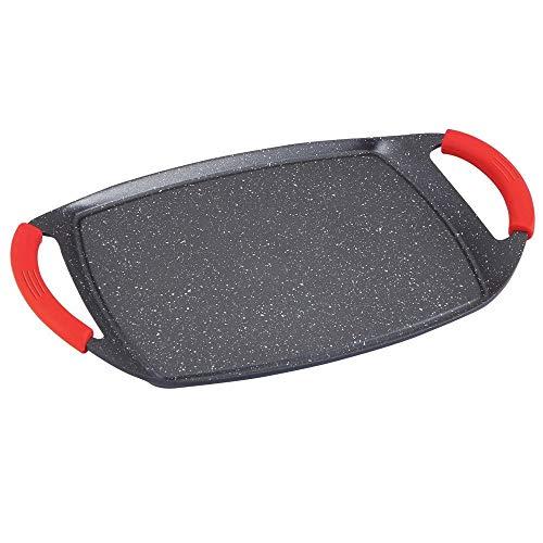 MGE - Plancha Grill - Asadora - Efecto Piedra - Revestimiento Antiadherente - Asas Rojas de Silicona - 36 x 23 cm