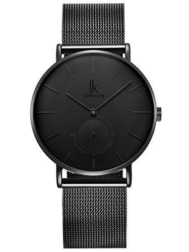Alienwork Herren Damen Armbanduhr Quarz schwarz mit Metall Mesh Armband Edelstahl Ultra-flach Slim-Uhr