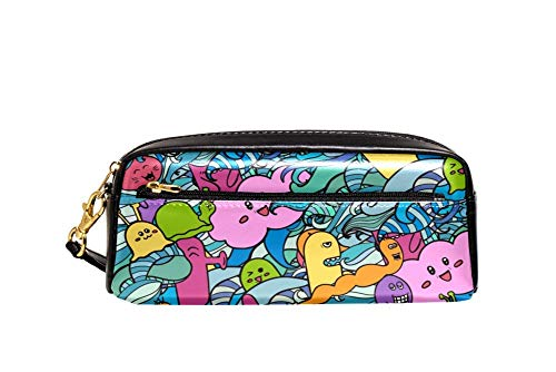 small cosmetic bag Cartoon Travel Penguin Holding Suitcase Portable Pouch PU Leather School Pen Case Stationary Pencil Bags Water Proof Cosmetic Bag Makeup Beauty Case