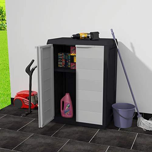 Cikonielf Wasserdichter Schrank für den Außenbereich, Gartenschrank, mit verstellbaren Türen und Ablagen, belüftet, Balkonschrank aus PP (65 x 38 x 87 cm, Schwarz und Grau)