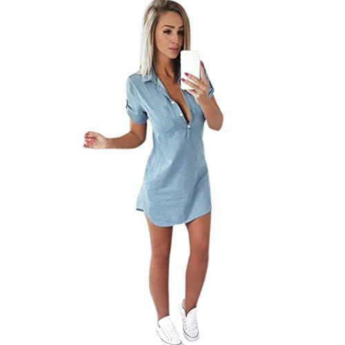 Cooljun Damen Jeanskleid Hemdblusenkleid Longshirt Tunika Damenmode 2018 Retro Denim Blau Hemd Kleid Kurzarm Sommerkleider mit Knopf Slim Jeans Party Minikleid Jeansbluse Hemdbluse (L, Blau)