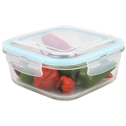 MISC 40 Oz. Square Glass Food Storage Container with Leak-Proof and Air-Tight Plastic Locking Lid Clear