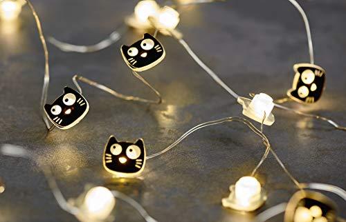 Ed, the Cat Mini-Lichterkette | 2,20 m LED-Lichterkette im Katzen-Design | 20 LEDs für den Innenbereich