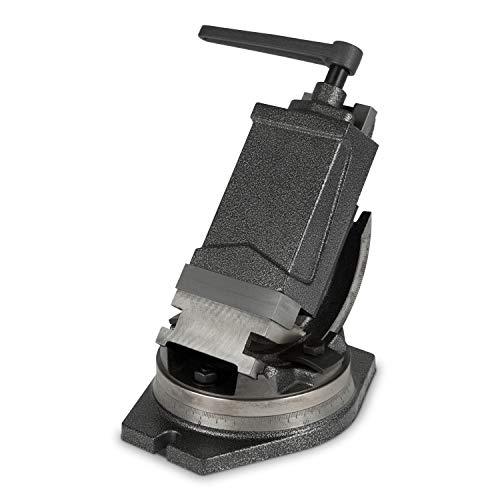 EBERTH 2-Achsen QHK Maschinenschraubstock (100 mm Backenbreite, 80 mm Spannbreite, 42 mm Spanntiefe, 0°- 90° kippbar, 360° drehbar, schwenkbar, Stahlguss)