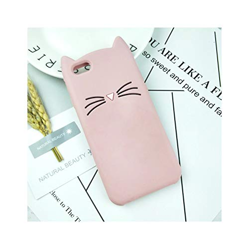 New 3D Cute Japan Glitter Bearded Cat Case Compatible for iPhone 4 4S SE 5 5S 5C 6 6S 7 8 Plus X XR XS 11 Pro Max Squishy Cat Cover Phone Bags,Compatible for iPhone 11 ProMax,HuXu Pink