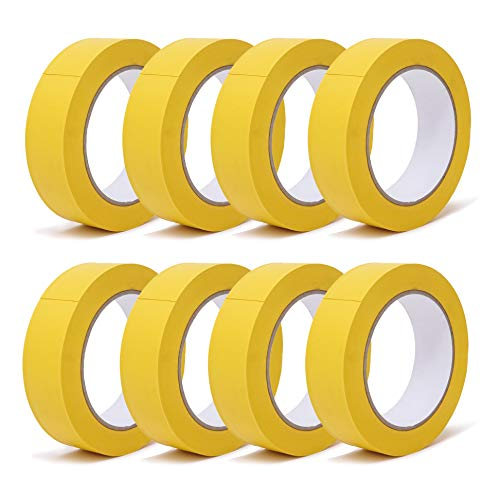 gws Putzband PVC gerippt Abklebeband von Hand reißbar   Maler-Schutzband in Profi-Qualität   versch. Farben & Breiten   Länge: 33 m (8 Rollen - 30 mm breit - gelb gerippt)