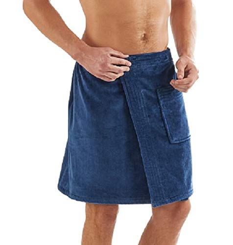C&B Men's Towel Wrap - 100% Organic Turkish Cotton for Spa, Shower and Gym w Pocket (Navy Blue)
