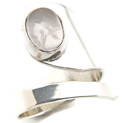 Rosenquarz Ring 925 Silber Sterlingsilber Damenring rosa verstellbar (MRI 99-07)