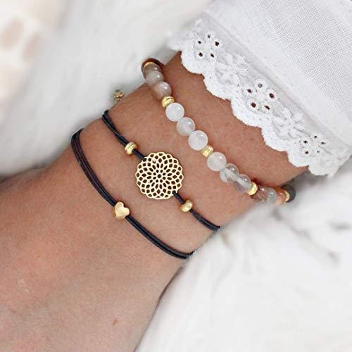 Armband Set, echter Mondstein, Mandala und Herz, elastisch, 925 Silber oder Silber vergoldet, perfektes Geschenk für Frauen