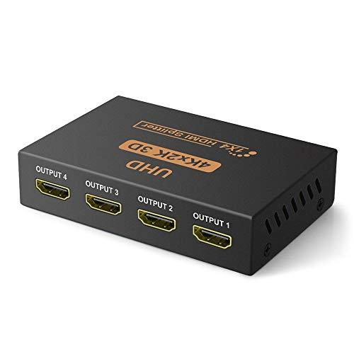 VKBAND HDMI Splitter 1 auf 4 Ausgang V1.4-betriebene 1x4-Port-Box unterstützt volle Ultra HD 1080P 4K 60hz/ 2K und 3D-Auflösungen (1 Eingang auf 4 Ausgänge)