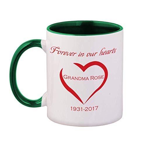 Personalized Custom Text Memorial Forever in our hearts Heart Ceramic Cup Colored Mug - Yellow