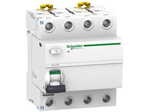 Schneider Electric A9R84463 iID Interruptor Diferencial, Clase AC, 4P, 63A, 300mA, 73.5mm x 72mm x 91mm, Blanco
