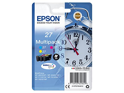 Epson original - Epson Workforce WF-3620 WF (27 / C13T27054012) - 3 x Tintenpatrone Multipack (Cyan, Magenta, gelb)