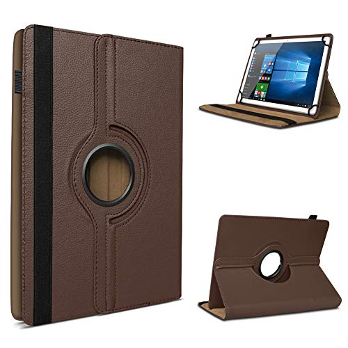 UC-Express Tablet Schutzhülle für 10-10.1 Zoll Tasche aus hochwertigem Kunstleder Hülle Standfunktion 360° Drehbar Universal Case Cover, Farben:Braun, Tablet Modell für:HP Slate 10 HD