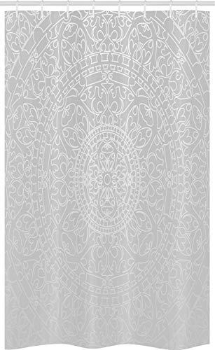 ABAKUHAUS Grigio e Bianco Tenda da Doccia Stalla, Design Orientale, Set per Il Bagno in Tessuto con Ganci, 120 cm x 180 cm, Grigio