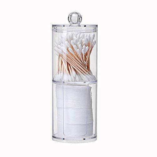 ZHAS Boîte de Rangement cosmétique Acrylique Multifonctionnel Rond Double Couche Conteneur Cosmétique Maquillage Coton Pad Organisateur Boîte De Stockage De Bijoux Titulaire