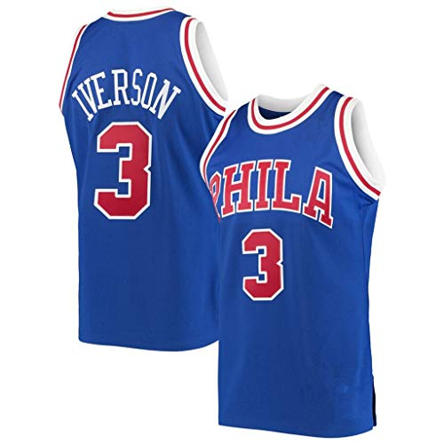WZ Männer Basketball Kleidung NBA Philadelphia 76Ers # 3 Allen Iverson Retro Klassischer Volles Stickerei Jersey, Kühle Breathable Unisex Basketball-Fan Uniform,Blau,L:180cm/75~85kg