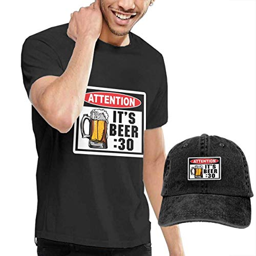 Preisvergleich Produktbild LYZBB Herren Kurzarmshirt Attention Beer 30 Warning Decal Adult Round Neck Short Sleeve T-Shirts Black and Adjustable Cowboy Hat