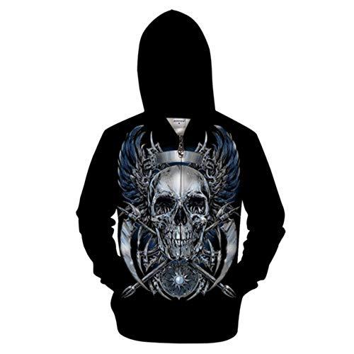 Zip Hoodies Unisex Pullover 3D Silber Totenkopf gedruckt Paar Männer Frauen Langarm Sweatshirts Uniform Pullover Strickjacke Outdoor Leisure Club Straße Hip Hop, XXXXXXL, A