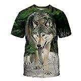 SSBZYES T-Shirts D'été T-Shirts pour Hommes à Manches Courtes T-Shirts Grande Taille T-Shirts Décontractés pour Hommes T-Shirts à Imprimé Loup T-Shirts Amples T-Shirts à Manches Courtes