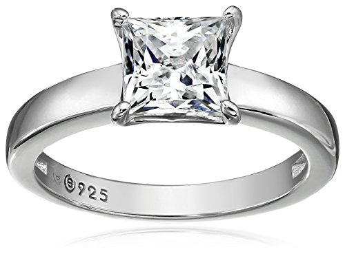 Platinum-plated Sterling Silver Princess-Cut Solitaire Ring made with Swarovski Zirconia (2 cttw), Size 9